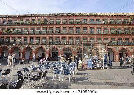 CORDOBA, SPAIN - DECEMBER 27, 2015: Building in Plaza of the Corredera in Cordoba Andalusia Spain.