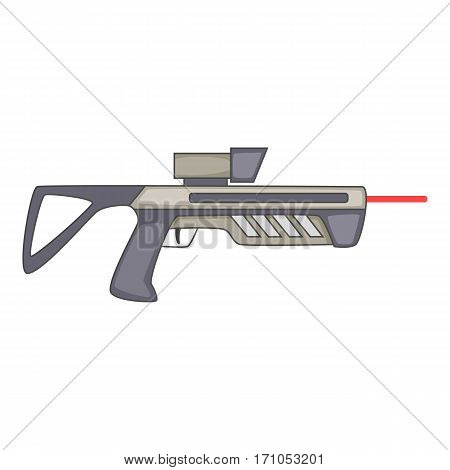 Futuristic ray gun weapon icon. Cartoon illustration of futuristic ray gun weapon vector icon for web