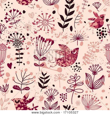 Romantic seamless pattern with birds in retro style