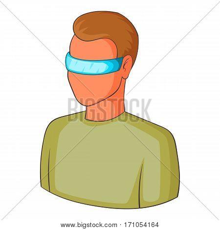 Man in futuristic glasses icon. Cartoon illustration of man in futuristic glasses vector icon for web