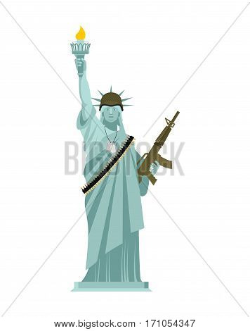 Statue Of Liberty Military Helmet And Weapon. Usa Army. Machine-gun Belts. Martial Law.