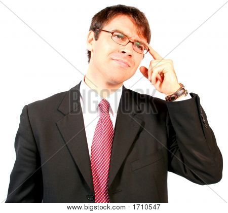 Young Attractive Strong And Powerful Business Man Thinking And Trouble Shooting A Problem To Find Th