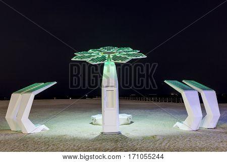 Solar powered beach shower at the Umm Suqeim beach in Dubai United Arab Emirates