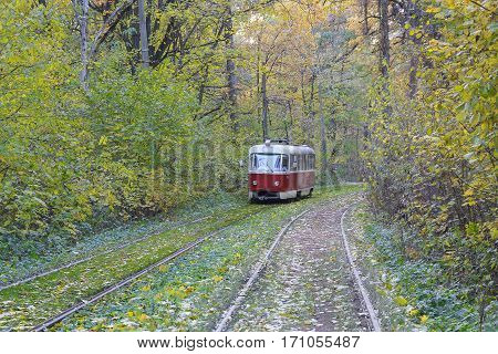 Tram goes through a tunnel in the forest. Kiev Ukraine