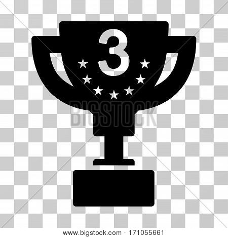 Third Prize Cup icon. Vector illustration style is flat iconic symbol black color transparent background. Designed for web and software interfaces.