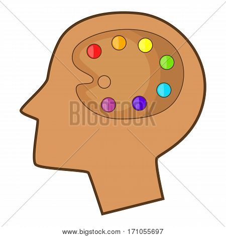 Art palette in human head icon. Cartoon illustration of art palette in human head vector icon for web