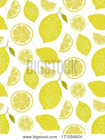 Lemon pattern, seamless vector texture with hand drawn yellow citrus. Fresh summer background