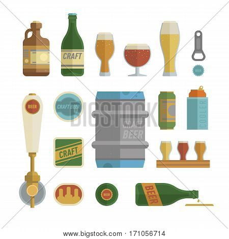 Craft beer items set. Differens beer elements include bottles, glasses, keg, can and bottle opener for bar, pub, home brewery, alcohol store. vector illustration art in flat style.