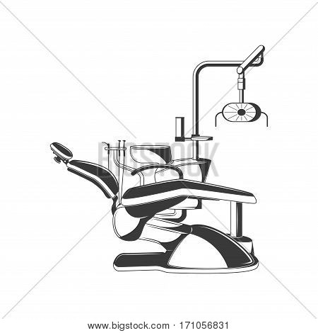 Dental chair vector black design element, object, symbol isolated on white background