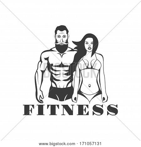 Man and woman of fitness vector vintage emblems, labels, badges and logos in monochrome style on white background. Fitness center, gym, fitness gym, aesthetics design elements