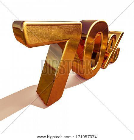 3d render: Gold 70 Percent Off Discount Sign