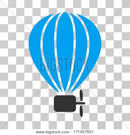 Aerostat Balloon icon. Vector illustration style is flat iconic bicolor symbol blue and gray colors transparent background. Designed for web and software interfaces.