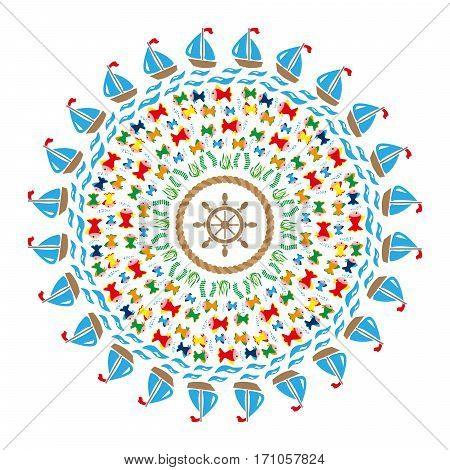 vector colored round navy mandala with symbols - sea fishes waves ships underwater plants twisted rope and rudder in the middle - adult coloring book page