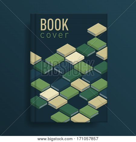 Book cover with green books ornament. Idea for diary or textbook cover. Design for school or educational institution. Vector illustration art.