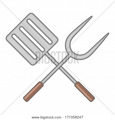 Spatula and barbeque fork icon. Cartoon illustration of spatula and barbeque fork vector icon for web
