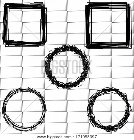 Set frames sketch outline. Frame on a background of white brick wall for pictures.