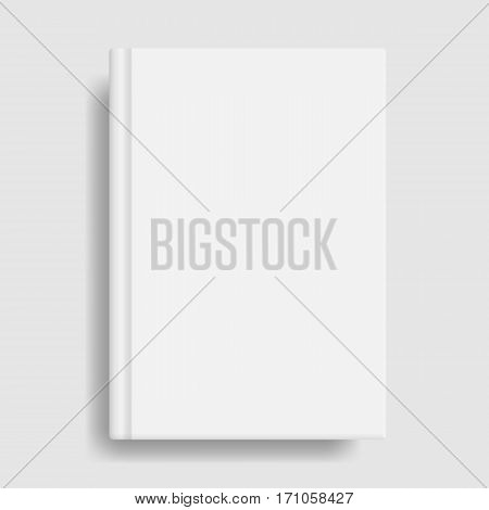 Book cover mockup. Blank white template. Idea for diary or textbook cover. Design for school or educational institution. Vector illustration art.