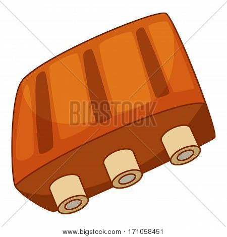 Pork ribs icon. Cartoon illustration of pork ribs vector icon for web