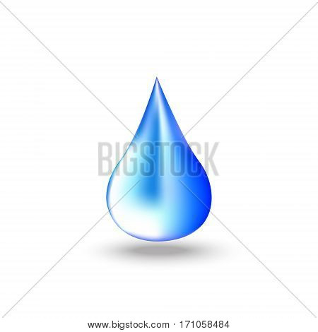 Blue Drop of water with shadow on white