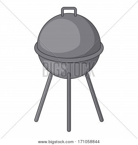 Kettle barbecue grill with cover icon. Cartoon illustration of kettle barbecue grill with cover vector icon for web