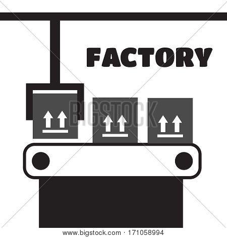 Industrial conveyor belt line vector illustration. Conveyor process production vector