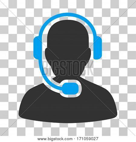 Call Center Operator icon. Vector illustration style is flat iconic bicolor symbol blue and gray colors transparent background. Designed for web and software interfaces.