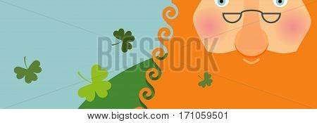 St. Patricks Day Banner. Leprechaun Face . Head With Red Beard. Festival In Ireland