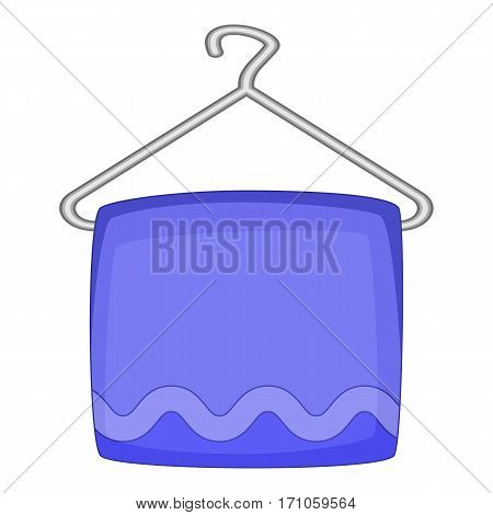 Towel on hanger icon. Cartoon illustration of towel on hanger vector icon for web