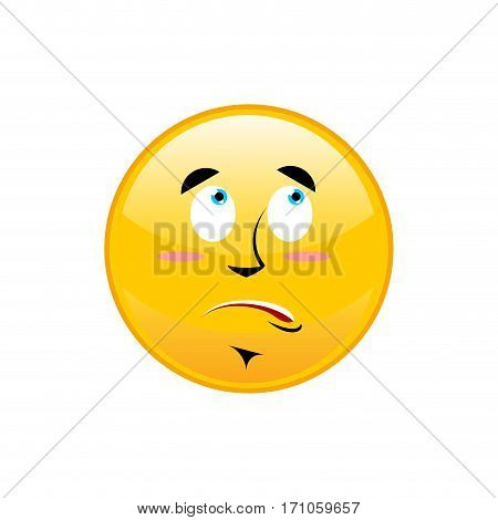 Surprised Emoji Isolated. Astonished Yellow Circle Emotion Isolated