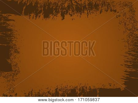 The rectangular horizontal grunge background with frame. Ragged brush strokes. Brown.