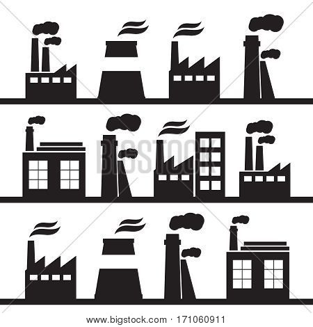 Industrial landscape and hand drawn cityscape. Business district and industrial district vector