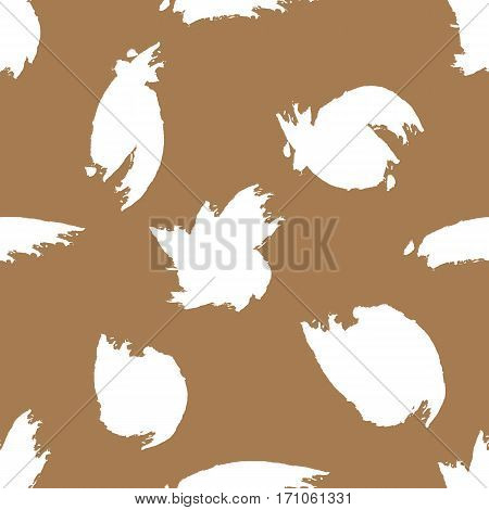 Spots painted watercolor brush. Ragged strokes. Seamless pattern. Brown white. Grunge.