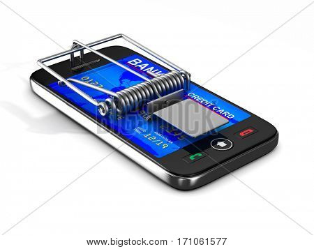 phone in mousetrap. Isolated 3D image