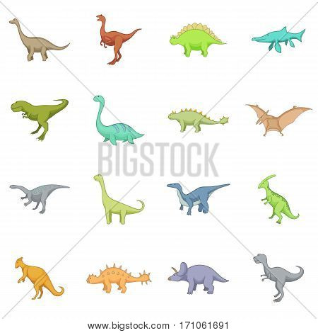 Different dinosaurs icons set. Cartoon illustration of 16 different dinosaurs vector icons for web