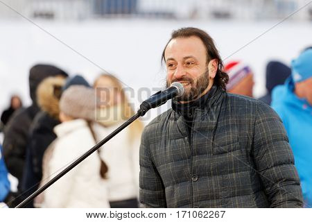 Ulyanovsk Russia - February 11 2017: Ilya Averbukh - Russian famous figure skater and ice dancer open festive show