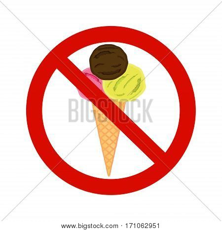 Forbidding Vector Signs No Ice-cream or food
