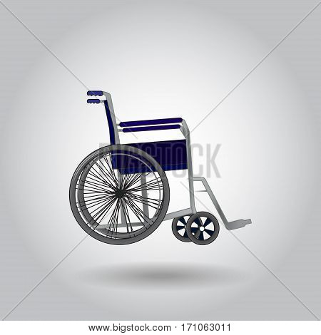 Realistic wheelchair on grey background with shadow