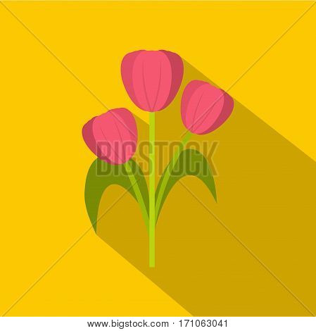 Pink tulips icon. Flat illustration of pink tulips vector icon for web isolated on yellow background