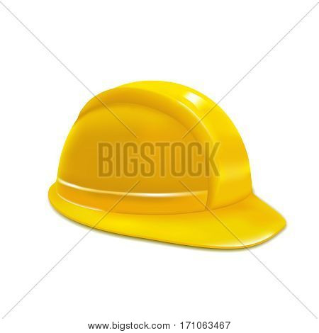 Realistic Construction or Working Safety Yellow Helmet or Hat Design Element Web. Vector illustration