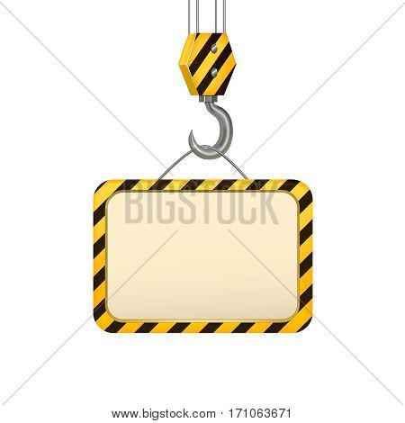 Industrial Crane Hook Banner Card Concept Design Element Place for Your Text. Vector illustration