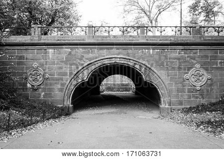 Trefoil Arch In Central Park Under East Drive