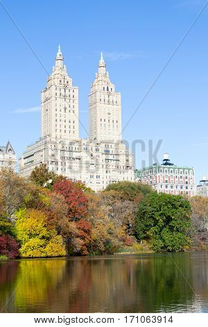 San Remo Appartments From The East Side Of The Lake In Central Park