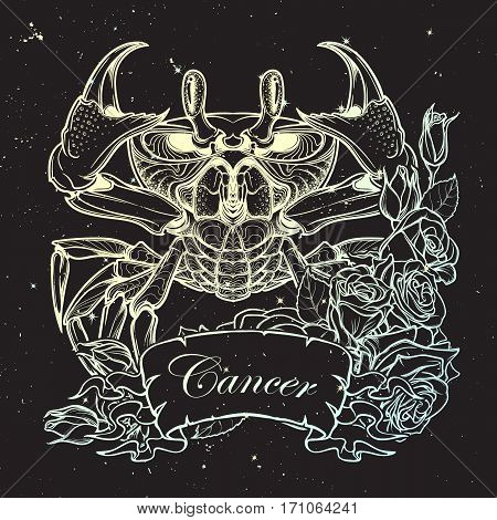 Zodiac sign - Cancer. Accurate symmetrical drawing of the beach crab with a frame of roses. Concept art for tattoo, horoscope. Coloring book illustration. Linear drawing on night sky background.