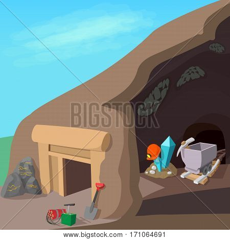 Mining process concept. Cartoon illustration of mining process vector concept for web