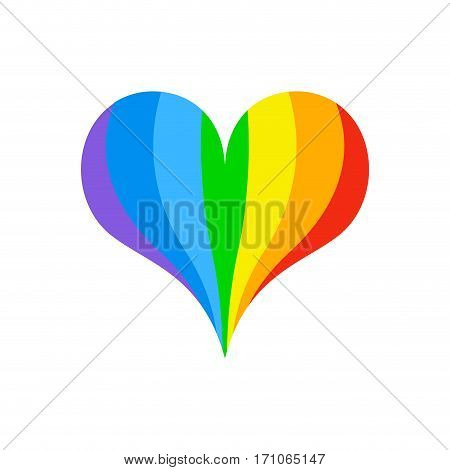Lgbt Rainbow Heart. Symbol Of Love Fo Sexual Community