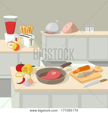 Food cooking lunch concept. Cartoon illustration of food cooking lunch vector concept for web