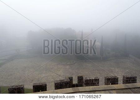 Castle Of Xavier On A Foggy Day (spain)