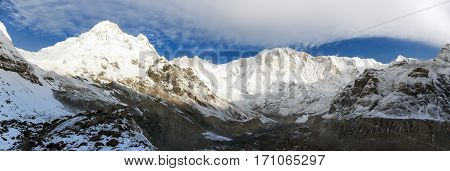 Morning panoramic view from mount Annapurna south base camp Nepal