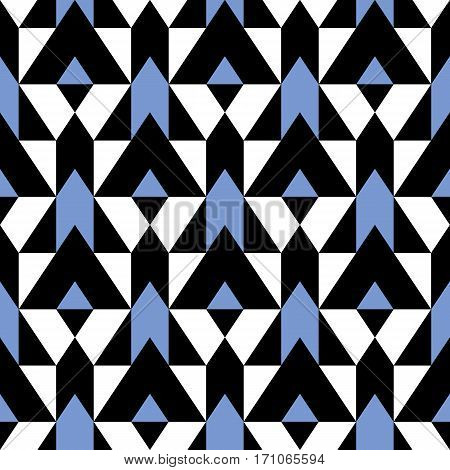 Vector geometric seamless pattern with lines and mosaic tiles in blue, white, black color. Modern bold print with diamond shape for fall winter fashion. Abstract color blocked tech op art background