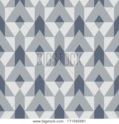 Vector geometric seamless pattern with lines and mosaic tiles in monochrome grey colors. Modern bold print with diamond shape for fall winter fashion. Abstract elegant simple tech op art background